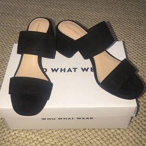 Black chunky backless heel